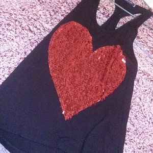 Pretty sequined heart tank
